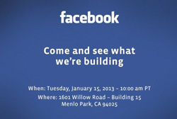 Invitation de Facebook à Menlo Park (Californie)