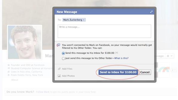 Payer 75 euros pour envoyer un message privé à Mark Zuckerberg ?