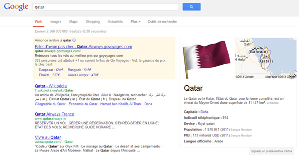 Qatar dans le Knowledge Graph de Google