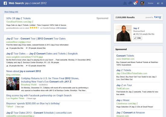 Résultats de recherche de Bing dans le graphe Facebook