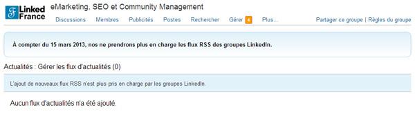 Fin des flux d'actualités RSS dans les groupes LinkedIn