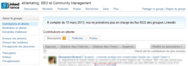 LinkedIn stoppe l'ajout de flux RSS dans les groupes LinkedIn