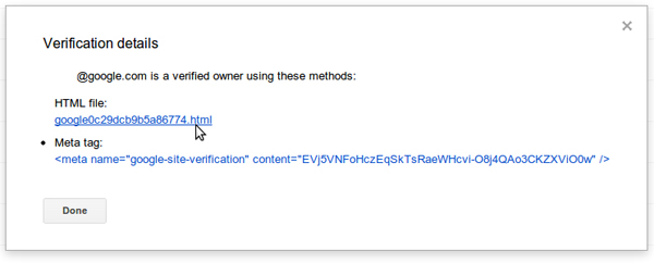 Du nouveau dans la validation de site via Google Webmaster Tools