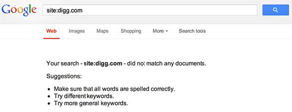 DIGG supprimé de l'index de Google