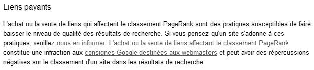 Liens payants: Google ne les tolère pas s'ils passent du PageRank.