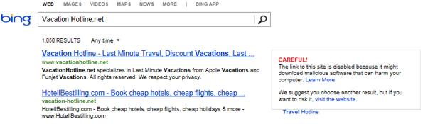 Le système d'avertissement de programmes malveillants dans le moteur de recherche de Bing.