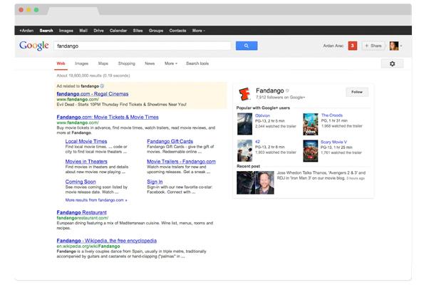 Les résultats de recherche de Google (après).