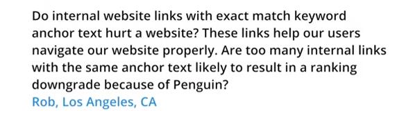 L'utilisation de mots clés exacts dans le texte d'ancre des liens internes sont-ils pénalisants ?