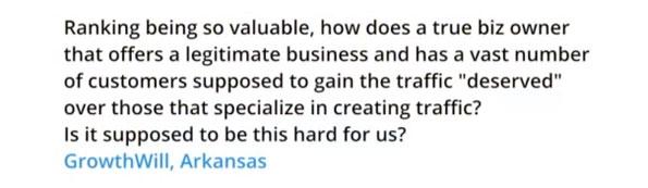 Question d'un webmaster à Matt Cutts au sujet de la visibilité des entreprises sur Google