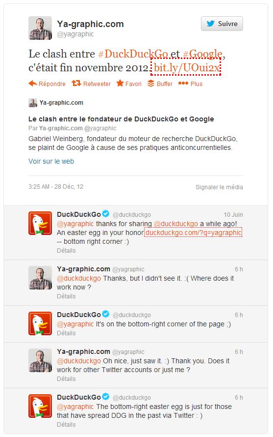 Échange de tweets entre DuckDuckGo et Ya-graphic sur Twitter