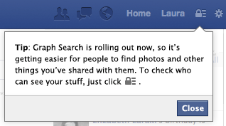 Message d'information de Facebook au sujet du Graph Search