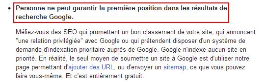 Google au sujet de la première position de Google garantie par les SEO