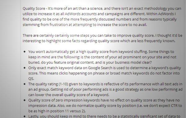 Des révélations sur le Quality Score (par une employée de Google)
