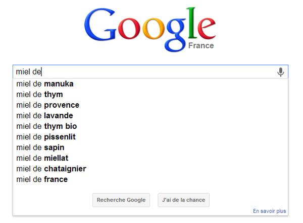 Saisie semi-automatique Google pour la recherche de mots clés