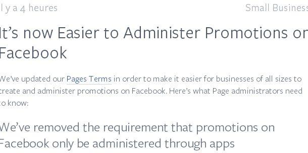 Facebook autorise les concours directement sur les pages Facebook (sans application)
