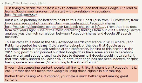Matt Cutts: les +1 de Google n'améliorent pas le classement Google