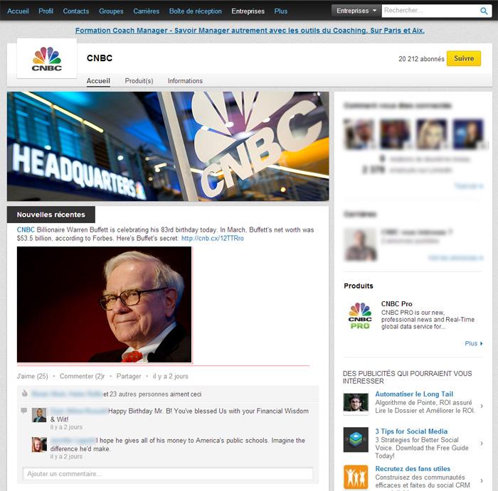 Page Entreprise LinkedIn de CNBC