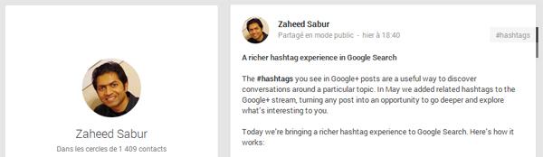 Publication Google+ de Zaheed Sabur, ingénieur logiciel chez Google