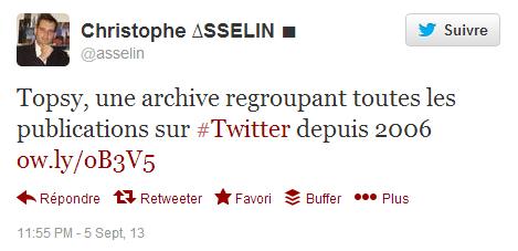 Topsy est-il une archive de tweets ?