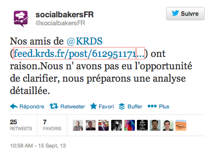 Tweet de Socialbakers France à propos d'un article du blog KRDS FEED