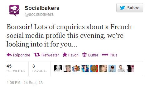 Tweet de Socialbakers au sujet des statistiques de la page Facebook de soutien au bijoutier de Nice.
