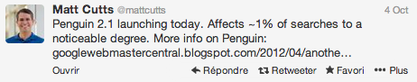 Tweet de Matt Cutts: Penguin 2.1