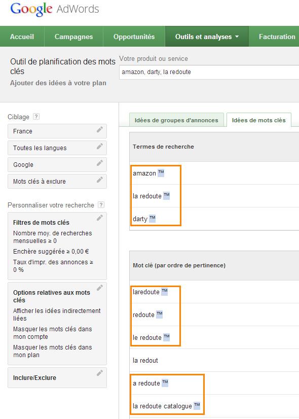L'outil de planification des mots clés de Google indique les marques déposées