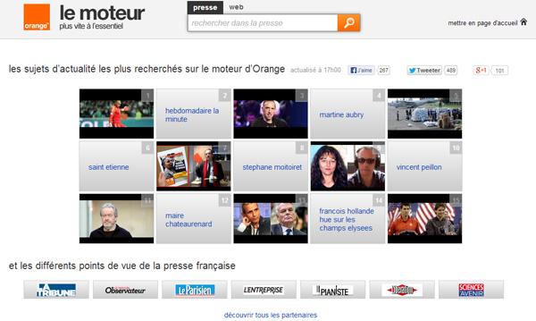 le moteur (sujets d'actualités les plus recherchés sur le moteur d'Orange)