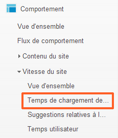Temps de chargement des pages - Google Analytics