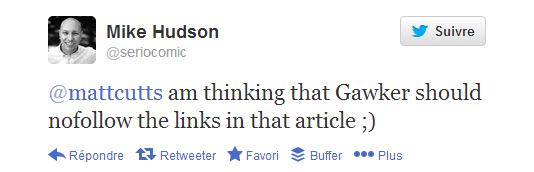 Tweet en réponse à Matt Cutts