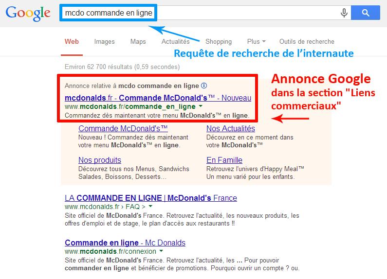 McDo commande en ligne (recherche Google)