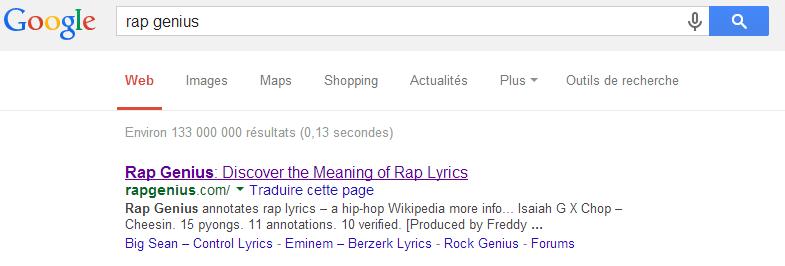Le site Rapgenius.com de retour dans Google