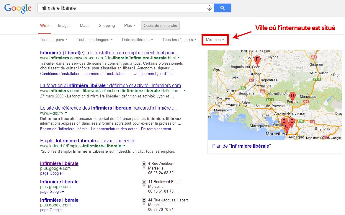 SEO local : l'internaute géolocalisé automatiquement par Google