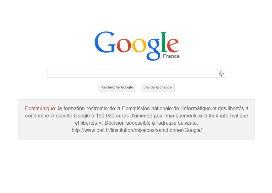 La CNIL ordonne Google France d'afficher un communiqué sur sa page d'accueil