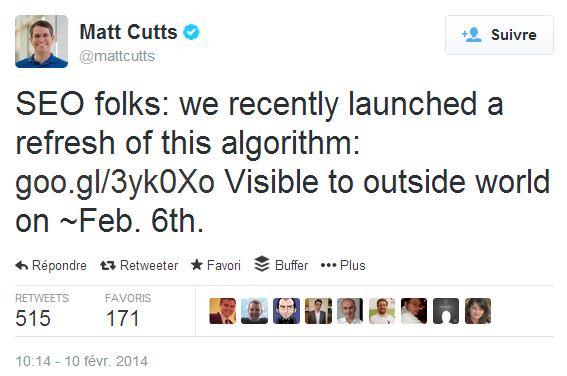 Matt Cutts dans Twitter au sujet de l'algorithme de mise en page (page layout)