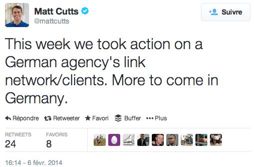 Matt Cutts : agence allemande pénalisée par Google (réseau de liens)