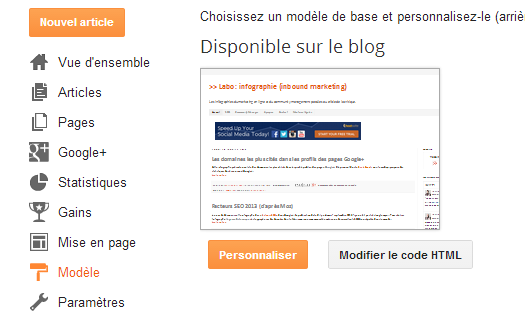 Modifier le code HTML dans Blogger