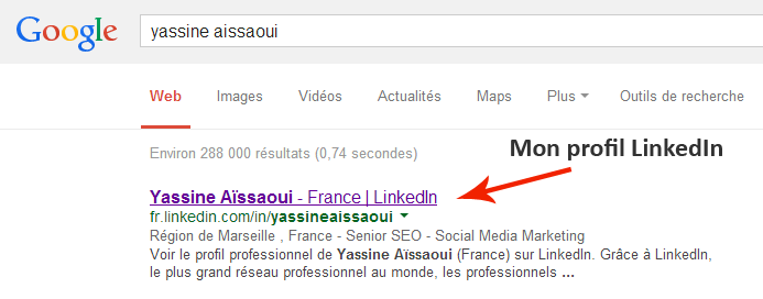 Mon profil LinkedIn référencé dans Google.fr