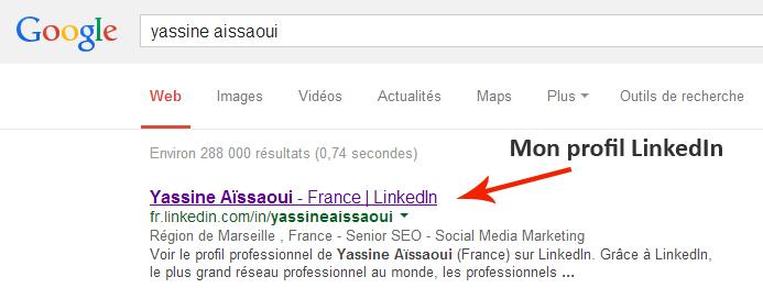 Mon profil LinkedIn dans Google.fr