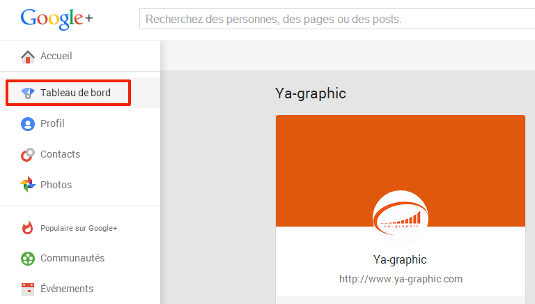 Tableau de bord de la page Google+ (Ya-graphic)