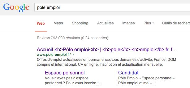 Bugs dans les résultats de recherche de Google
