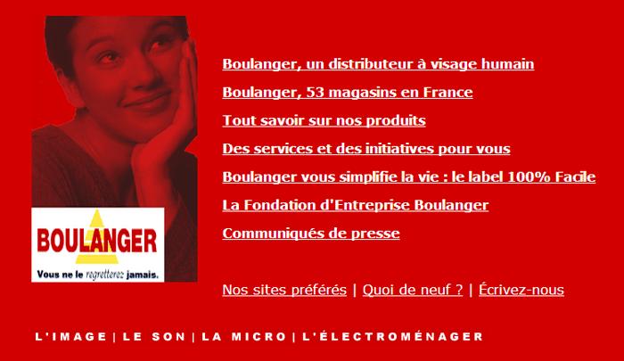 Design du site Boulanger.fr en l'an 2000