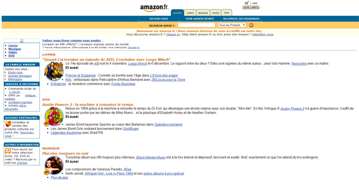 Design du site Amazon.fr en 2000