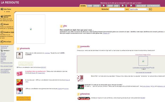 Design du site web Laredoute.fr en l'an 2000