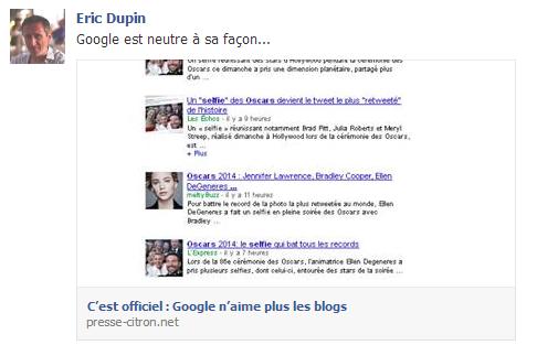 Google n'aime plus les blogs ?