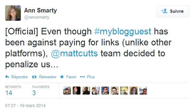 Ann Smarty dans Twitter : MyBlogGuest pénalisé par Google