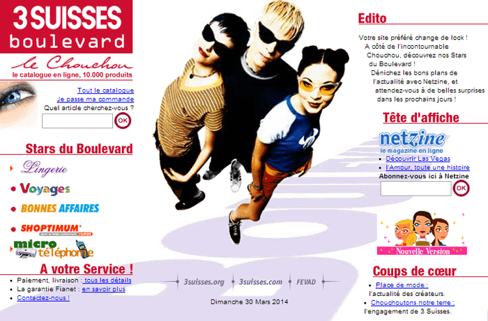 Design du site 3suisses.fr en 2000