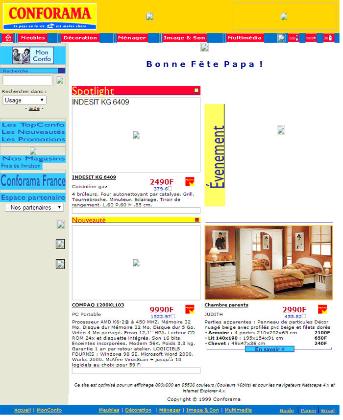Design du site Conforama.fr en 2000
