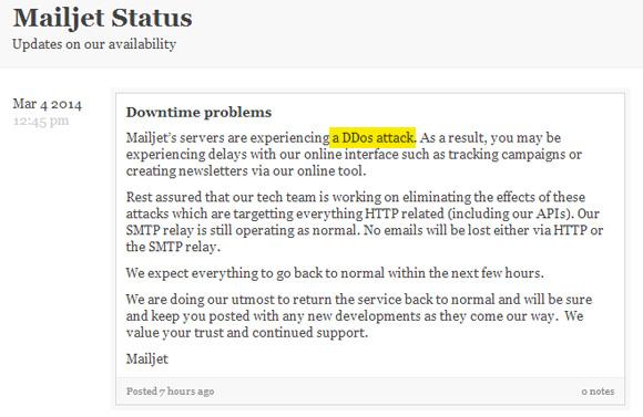 Mailjet attaque par déni de service (DDoS)