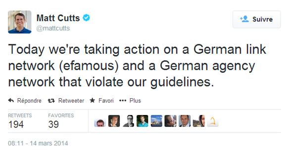 Matt Cutts : pénalité de Google contre 2 réseaux de liens allemands